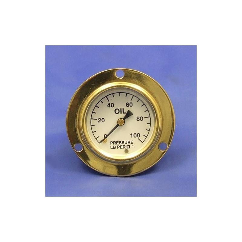 Tlakoměr oleje 0-100 lb/sq - Bílý ciferník